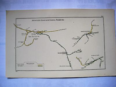 1928 RAILWAY CLEARING HOUSE Junction Diagrams.READING,BASINGSTOKE,ANDOVER.