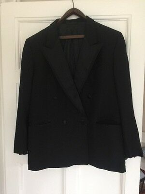 "Mens Wool Black Dinner Jacket Chest Size 46"" With Satin Lapels And Pocket Edges"