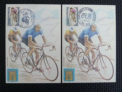 FRANCE MK 1972 SPORTS CYCLING RADFAHREN 2 MAXIMUMKARTEN MAXIMUM CARD MC CM c4869