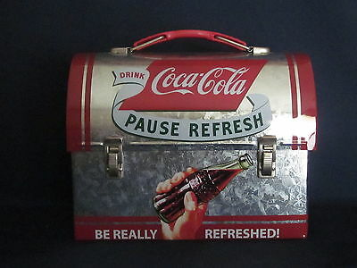 Pause Refresh Coca Cola Tin Metal Dome Lunchbox