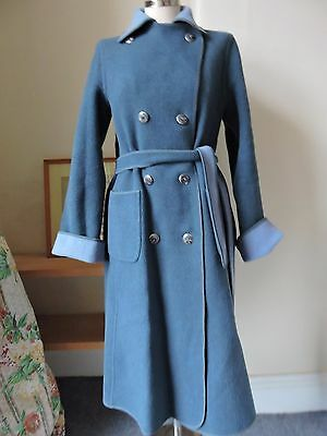 Vintage WETHERALL reversible 100% Wool Coat - 2 shades BLUE - uk size 12