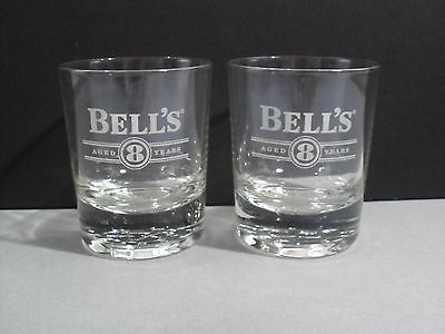 Bells Whisky Glasses Tumblers x 2 Great Gift! Aged 8 Years embossed heavy base
