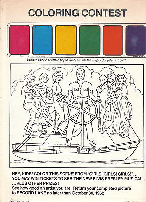 """ELVIS PRESLEY original 1962 """"COLORING CONTEST"""" issued from Paramount"""