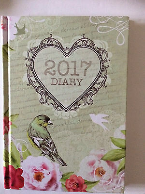 2017 - A6 hard cover Diary Week to view vintage birds