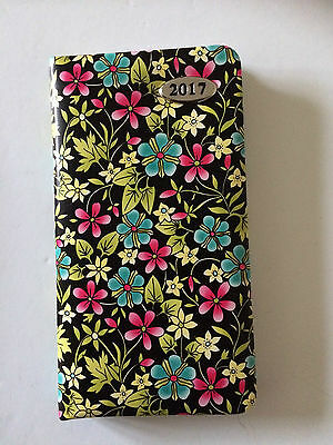 2017 slim Padded Diary Week to view Black with Flowers