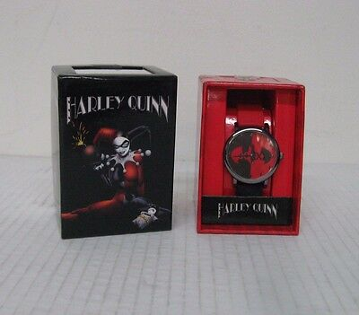 Accutime DC Comics Harley Quinn Red/Black Rubber Buckle Band Watch