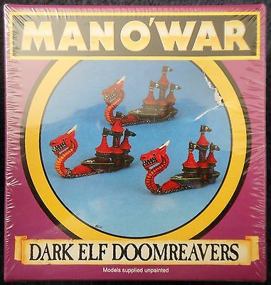1993 Man O' War Dark Elf Doomreaver 2 Games Workshop MOW Elven Ship Fleet Galley