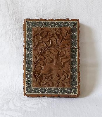 Antique Late 19Th Early 20Th C Indian Carved Wooden Card Case Inlaid Mosaics