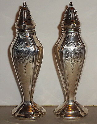 c1910 MANCHESTER ANTIQUE pattern #696 ALL STERLING SILVER SALT & PEPPER SHAKERS