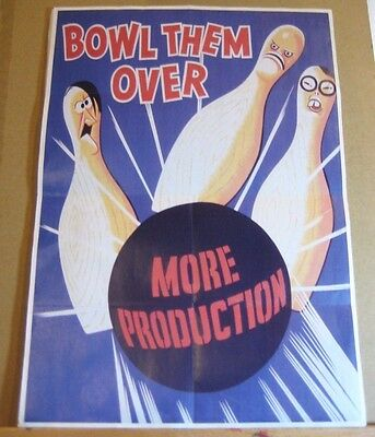 "WW2 Era style  US War Effort Poster Geat Condition!  ""Bowl them Over!"""