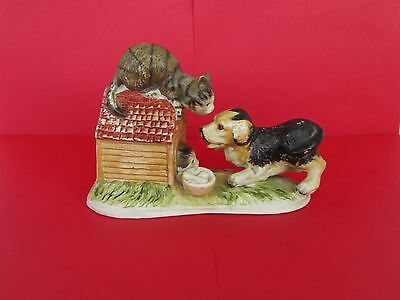 Dog with Cats Ceramic Ornament playing on Kennel