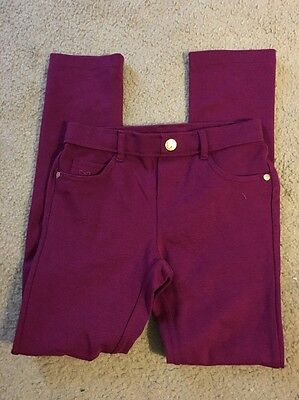 GYMBOREE Knit Pants Ribbon Girl's Size 8 - EUC Gold Accents Berry Pockets