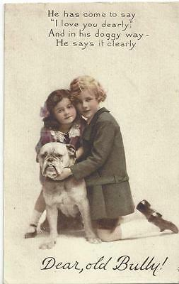 Bully The Bull Mastiff Dog With Two Loving Chidren Tuck Vintage Postcard