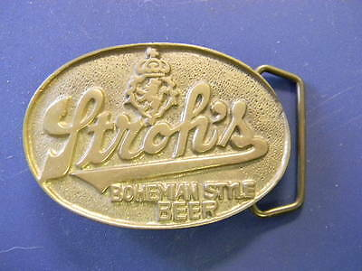 Vintage Stroh's Bohemian Style Beer Solid Brass Belt Buckle
