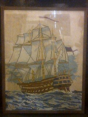 1944 H.s.r.? Stitching Picture Of A Old Ship