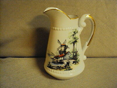 Vintage White Milk Glass Hand Painted Dutch Windmill Pitcher Signed