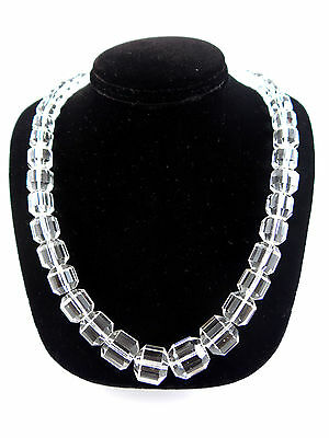 Lovely Clear Rock Crystal Graduated Faceted Necklace 20 inches