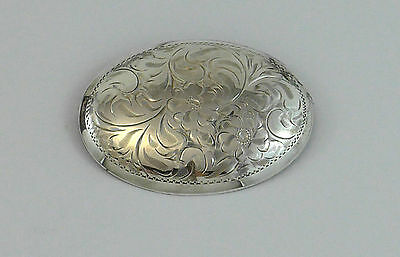 Large Sterling Silver Brooch Oval Pin