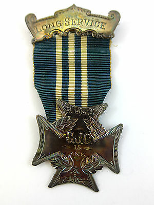 """Antique """"Long Service Medal"""" 15 Years Silver Medal - Major J. Paquin Quebec"""