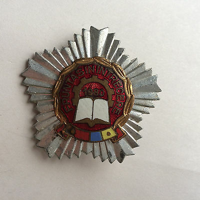 communist romania badge: winner of socialist competition 1980