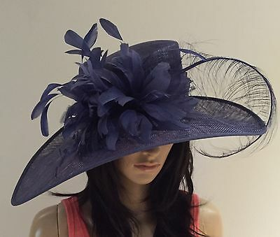 Nigel Rayment Navy Wedding Ascot Occasion Sinamay Hat Formal Mother Of The Bride