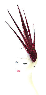 Hot Pink Black Pheasant Feather Statement Fascinator Races Headpiece Vtg 1612