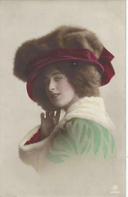 Glamour Lady - Fabulous Hat With Fur  1912 Postcard