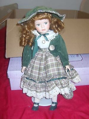 "porcelain doll 17"" on stand"
