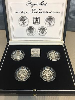 1984-1987 Uk £1 Silver Proof Piedfort Coin Collection Original Box & Certificate