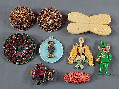 8 PC Vintage Art Deco Era Celluloid Costume Jewelry Lot Pins Pendant Earrings