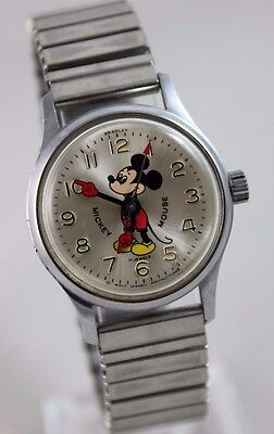 Vintage Disney Bradley 17 Jewels Pie-Eyed Mickey Mouse Mens Watch - Red Hands