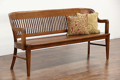 Railroad Station Antique 1900 Oak Bench, Signed Milwaukee Chair