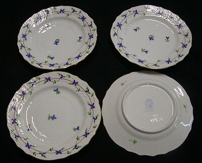 4 Herend Hungary Porcelain Blue Garland Bread Plates 1515 MINT