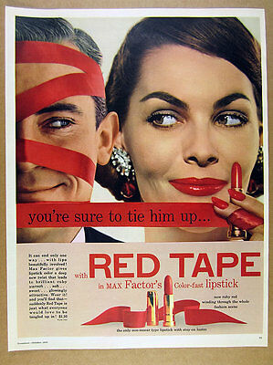 1955 Max Factor RED TAPE Lipstick pretty woman & man photo vintage print Ad