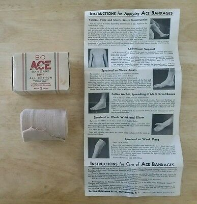 Vintage 1940 Ace Bandage W/box Instructions First Aid Advertising