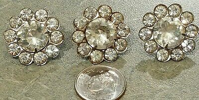 3 Antique Rhinestone Buttons