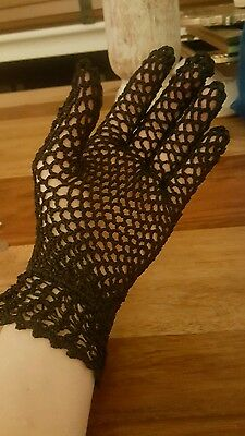 Vintage crochet black gloves