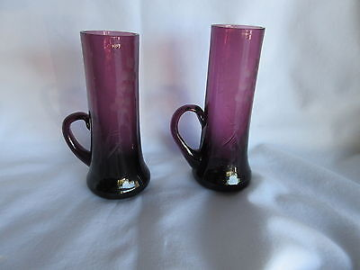 2 Vintage Amethyst 4 3/8 Inch  After Dinner Glasses w/ Handle & etched Grapes