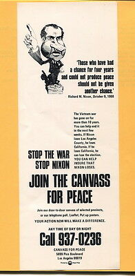 Anti Vietnam War & Richard Nixon Canvass for Peace Flyer/Broadside protest cause