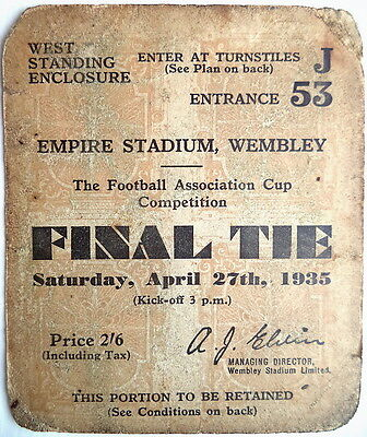 1935 F A CUP FINAL TICKET SHEFFIELD WED 4 v WEST BROM 2