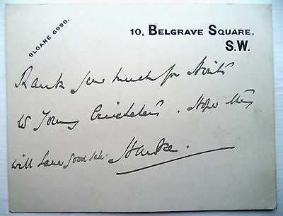 Lord Hawke Yorkshire & England Cricket 1896-1899 Vintage Signed Autograph Note