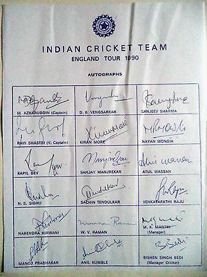 India To England 1990 – Cricket Official Autograph Sheet