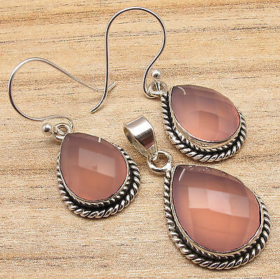 Pink ROSE QUARTZ HANDMADE Earrings & Pendant MATCHING SET, Silver Plated Jewelry