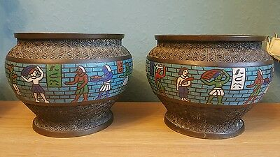 unusual vintage cloisonne bowls decorated with egyptian symbols