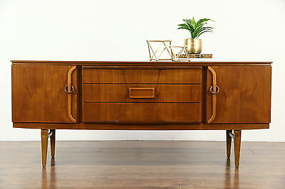 Midcentury Modern Teak Vintage Credenza Sideboard TV Console, Signed Beautility