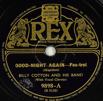 Schellack Billy Cotton - Good Night Again / Our.. Grammophon gramophone shellac