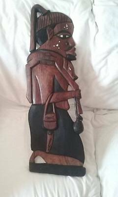 Heavy Large African Carved Wood Plaque