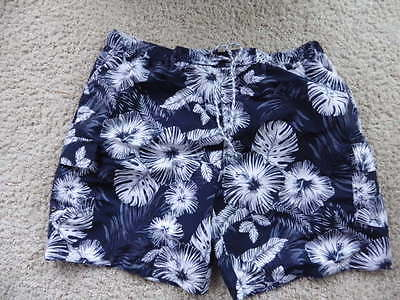 Size 4XL  Mens Swim Trunks  blue white floral Swimming Shorts Lined