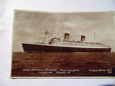 A vintage black and white postcard featuring RMS Queen Elizabeth postmarked 1948