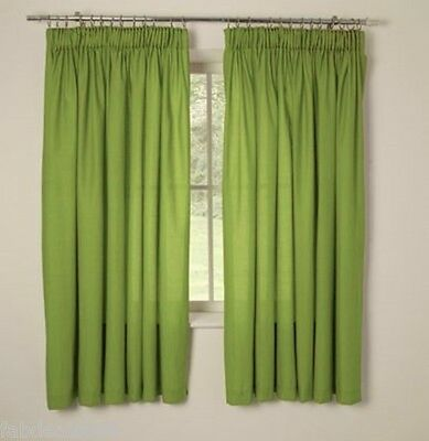 "Unlined Children's Pencil Pleat Curtains 66x54"" 168x183cm Apple Green Tape top"